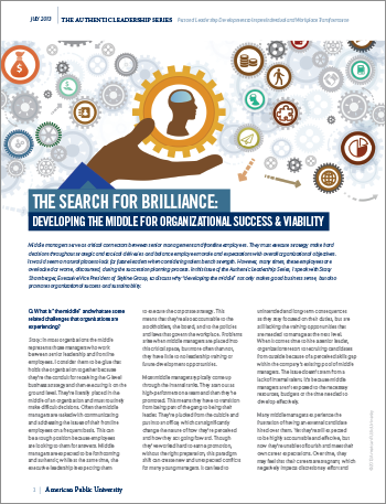 The Search For Brilliance: Developing The Middle for Organizational Success and Viability
